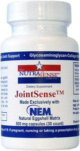 Nutrasense JointSense exclusively with NEM (Natural Eggshell Membrane), 500mg, 30ct Veggie Caps for 1x/Day Optimal Joint Health and Mobility Naturally