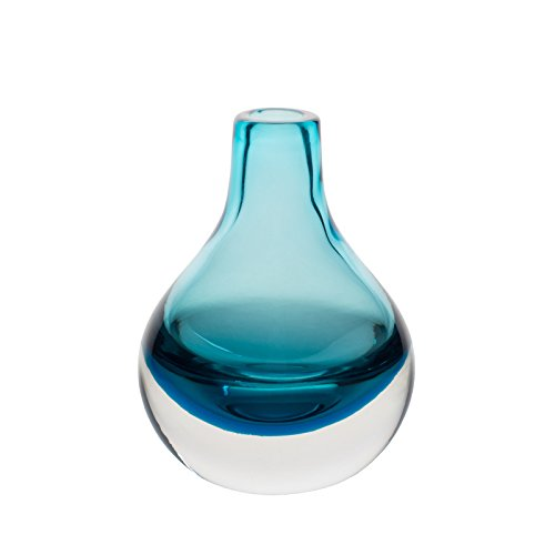 CASAMOTION Hand Blown Art Solid Color Glass Bud Vase, Gift Box, Blue