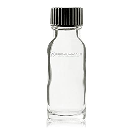 Pack of 12 Clear Premium Vials B24-12 Boston Round Glass Bottle with Cap 1//2 oz Capaciy