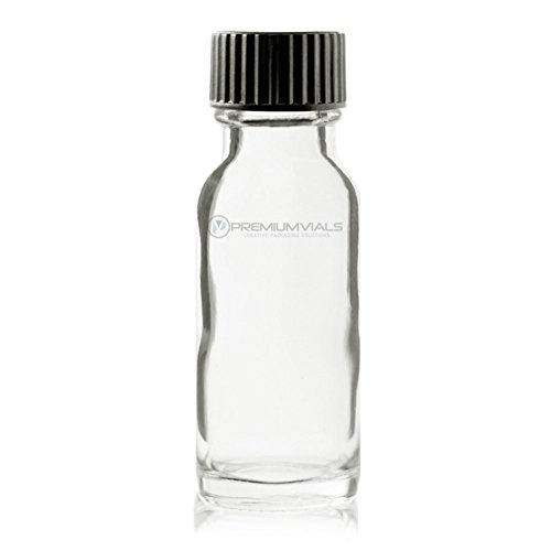 Premium Vials B24-12 Boston Round Glass Bottle with Cap, 1/2 oz Capaciy, Clear (Pack of 12)