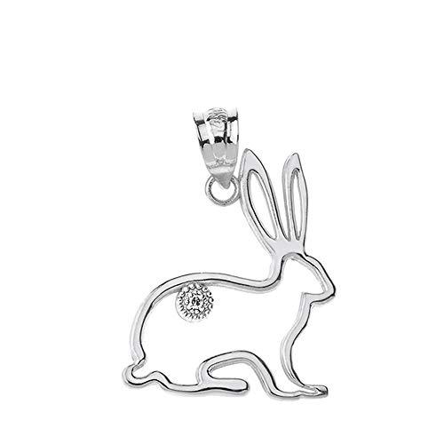 - Fashion 14k White Gold Diamond Outline Bunny Pet Rabbit Charm Pendant