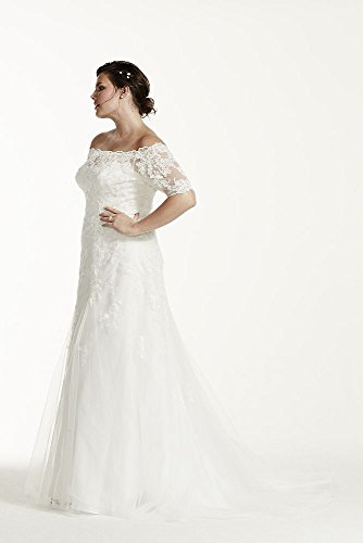 Lace jewel 34 sleeve trumpet plus size wedding dress style for Plus size trumpet wedding dress with sleeves