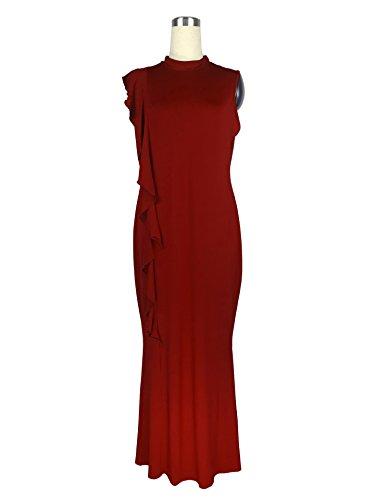 1bf9adcde1 ... Damen Abendkleider Lang Große Größen Slim Fit Cocktailkleid Sommer  Elegant Vintage Festliche Kleider Ärmellos Mit Rüschen ...
