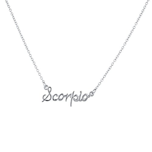 4add65aa9dce1 Lux Accessories Girls Silvertone and Goldtone Script name Horoscope Zodiac  Sign Necklace