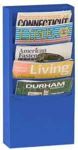 Durham 403-10 Blue Cold Rolled Steel 5 Contour Pocket Vertical Literature Rack, 9-3/4