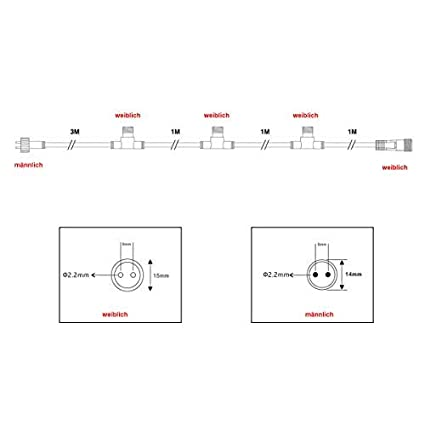 VBLED/® T-KonnektorHortus System IP65 mit 34cm 12V f/ür den Au/ßenbereich Pumpen uvm. geeignet f/ür Garten-Beleuchtung Lichterkette