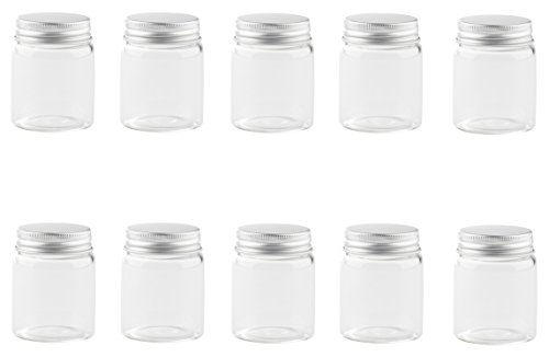 Juvale Mini Glass Storage Jar Lid - 10-Piece Clear Glass Jars, Tiny Transparent Containers Artists Paint, Party Favors, Wedding Decoration, 1.7-Ounce by Juvale