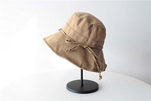 Unique Solid Color Cotton hat Cap Women Girls Child Sun Cloth Influx People Bow Collapsible Bucket Hats (Light tan