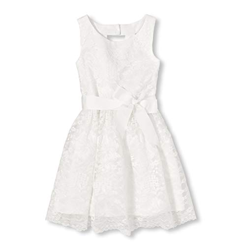 Young Girls Dress (The Children's Place Girls' Big Floral Printed Cut-Out Back Dress, Simplywht,)
