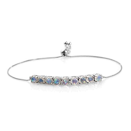 - Round Welo Opal Bolo Bracelet 925 Sterling Silver Platinum Plated Gift Jewelry for Women Adjustable