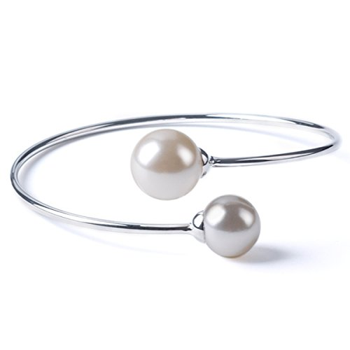 (TQS Imitation Pearl Bracelet Bangle Cuff Bracelets Adjustable Plated Silver Bracelet Bangles for Women)