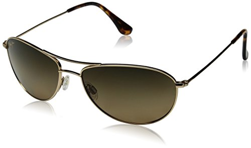 Maui Jim Baby Beach  Aviator Sunglasses, Gold Frame/HCL Bronze Lens, One - Jim Maui Womens
