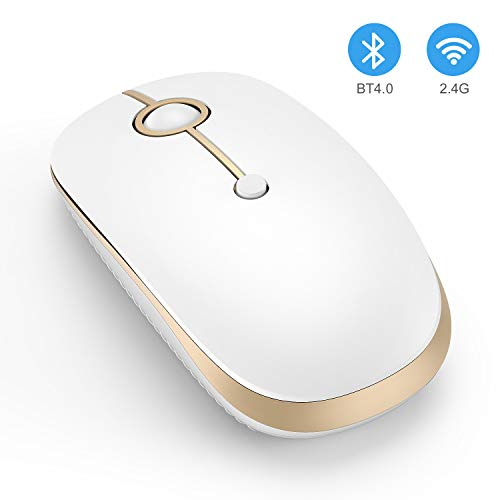 Wireless Bluetooth Mouse, Jelly Comb Slim Dual Mode 2.4GHz Wireless and Bluetooth Mouse with 2400 DPI for PC, Laptop, Mac, Windows (White and Gold)