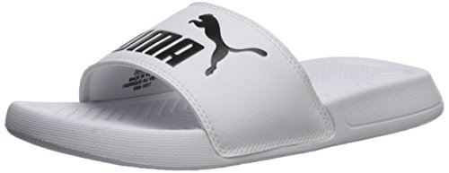 PUMA Women's Popcat WNS Slide Sandal White Black, 8.5 M US