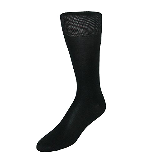 CTM Men's Silk Blend Over The Calf Dress Sock, Black (Silk Slacks)