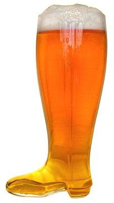 Glass Beer Boot 2 Liter - Mouth Blown 2.0 Liter Glass Beer Boot - German Drinking Boot