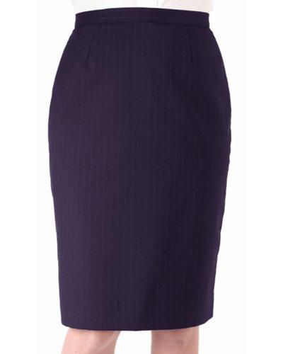 Ed Garments Women's Straight Style Pinstripe Skirt, NAVY, 8 R - Fully Lined Pinstripe Skirt