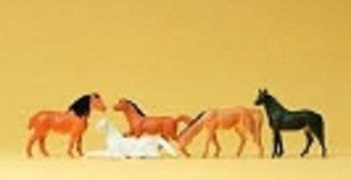 Horses (5) HO Scale Preiser Models by Preiser