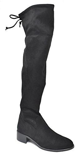 DANIELA VEGA - Bota mosquetera para mujer de atar arriba - Made in Spain - 1153 - Negro
