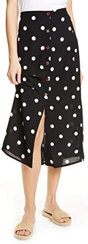 Free People Retro Love Midi Button Slit Polka Dot Skirt Black / Free People Retro Love Midi Button Slit Polka Dot Skirt Black