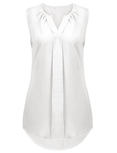 Naggoo Womens Summer Business Casual Tops Notch Neck Sleeveless Work Shirts(L, White) by Naggoo