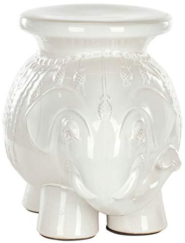 Safavieh Castle Gardens Collection White Elephant Ceramic Garden Stool (Ceramic Elephant Plant Stand)