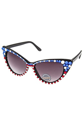 GlitZ Finery American Flag Stud Cat Eye Framed Sunglasses