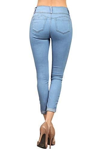 con Jeans Donna risvolto denim in skinny Blue risvolto Houjibofa con qX5Zqd