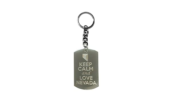 Keep Calm and Love Nevada State Logo Metal Ring Key Chain Keychain
