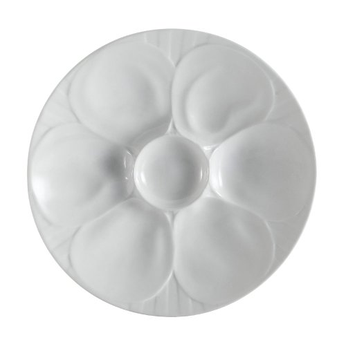 CAC China OYS-9 Porcelain Oyster Plate with 6-Compartment, 9-Inch, Super White, Box of 24 by CAC China