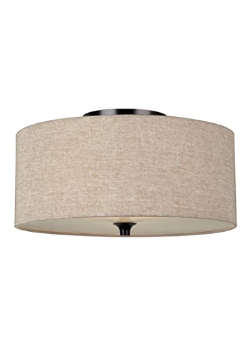 Sea Gull Lighting 75952EN3-710 Stirling Two-Light Ceiling Flush Mount with Satin Etched Glass Diffuser and Beige Linen Fabric Shade, Burnt Sienna Finish