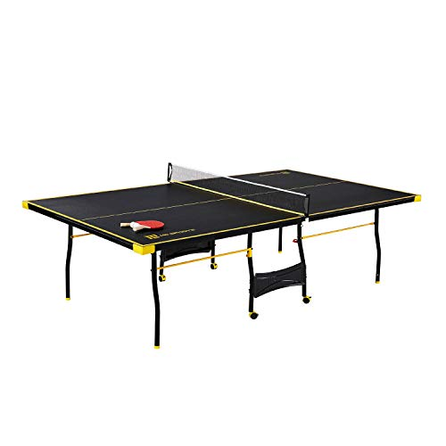 MD Sports Table Tennis Set, Regulation Ping Pong Table with Net, Paddles and Balls (8 Pieces) - Black & Yellow (Table Tennis)