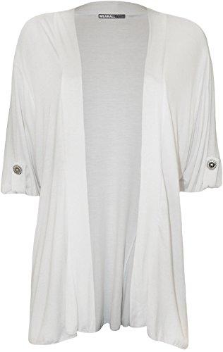 Basic Cardigan Fashion Donna 4 Bianco Less SFnxUqg