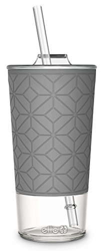 Plastic Glasses With Lids (Ello Tidal Glass Tumbler with Straw, 20 oz, Grey)