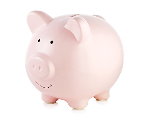 Piggy Large Coin (Pearhead Ceramic Keepsake Piggy Bank, Pink)
