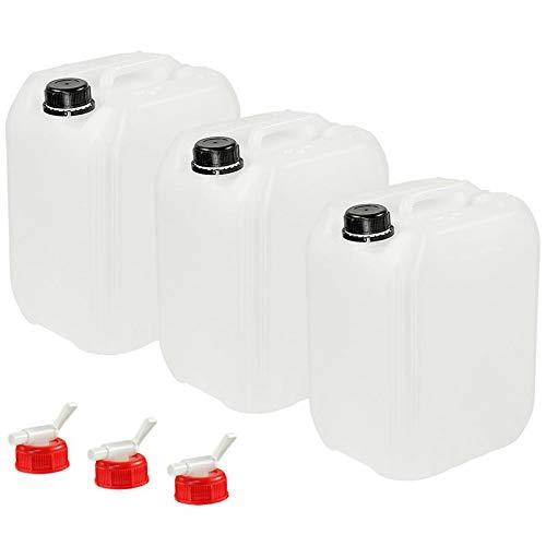 Anaterra Jerrycan 10 Liter – Set van 3 – Incl. aftapkraantjes – Geschikt voor drinkwater – Opstapelbaar – Watertank