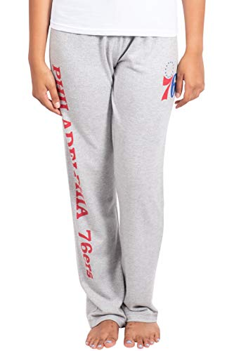 Ultra Game Women's NBA Sleepwear Super Soft Hacci Pajama Loungewear Pants, Philadelphia 76ers, Heather Gray, Small