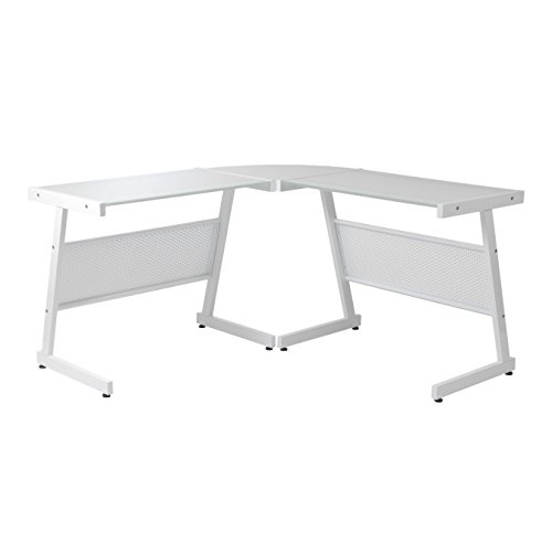 Euro Style Luigi L Desk, White/Pure White Glass (Style Writing Euro Desk)