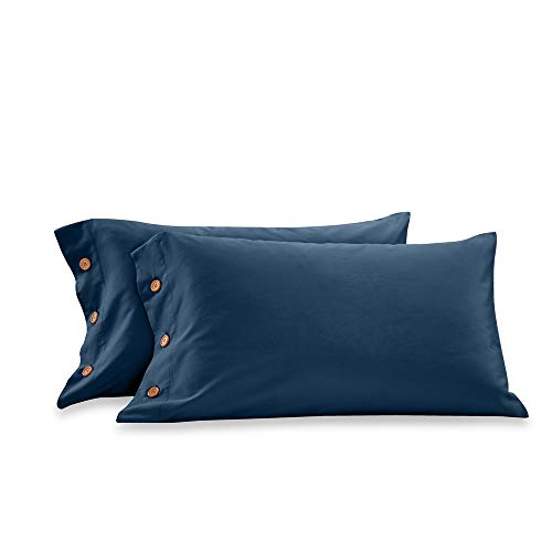 Orose 600 Thread Count Cotton Pillowcase-100% Long Staple Cotton Standard Pillowcase Set of 2,Soft and Silky Bed Pillow Cover French Design Cotton Pillows for Sleeping (Navy, King) (Pillows Extra King For Long Bed)