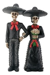 Mariachi Skeleton Couple Holding