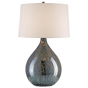 Bone Linen Shade (Currey Company 6909 Table Lamp with Bone Linen Shades Linen Shades, Blue Mercury and Nickel Finished)