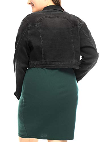 uxcell Women's Plus Size Button Closed Cropped Denim Jacket Black 1X