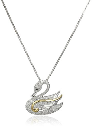 Sterling Silver and 14k Yellow Gold Diamond Swan Pendant Necklace (1/10 cttw, I-J Color, I2-I3 Clarity) 14k Yellow Gold Swan Pendant