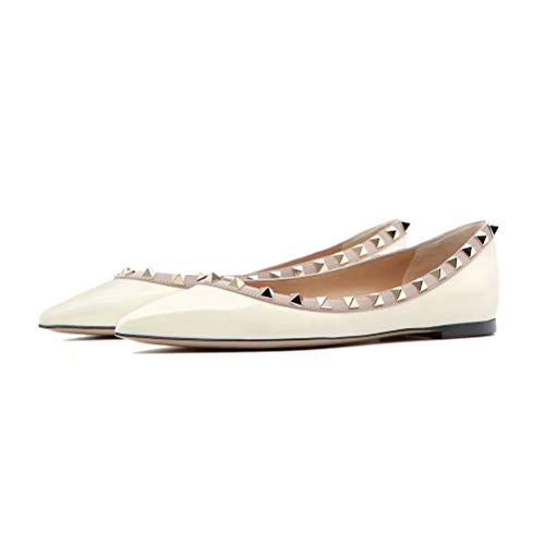 Gladiator White Flat Toe Women Pan Casual Pointed Slip Rivets Flats On Studded Heels Caitlin qAZw00