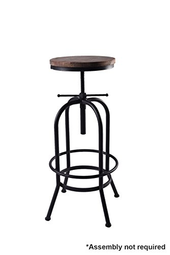 Articial Adjustable Rustic Industrial Bar Stool Swivel Pine Wood Top Metal Frame Bar Chair Footrest Leisure Coffee Chair by Articial (Image #6)