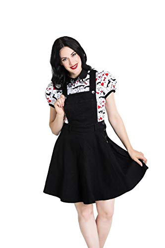 Hell Bunny Dakota Denim Rockabilly 50's Pinafore Dress - Black (3XL)