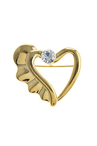 Edwardian Costumes Amazon (TRENDY FASHION JEWELRY WINGED HEART BROOCH BY FASHION DESTINATION | (Gold))