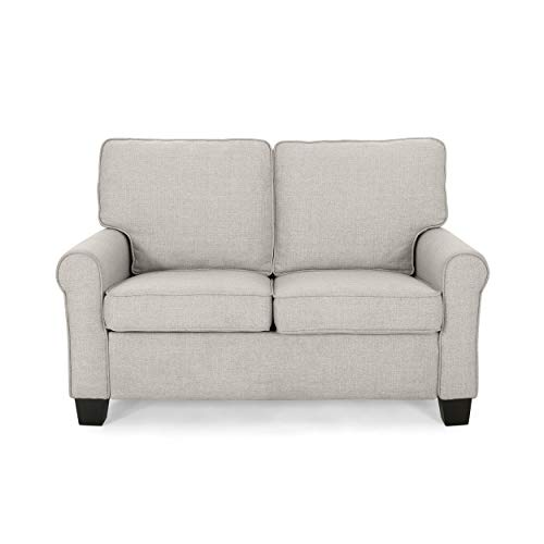 Christopher Knight Home 307520 Denise Loveseat, Mid-Century Modern, Minimal, Beige, Dark Brown
