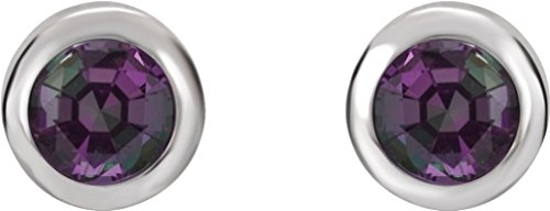 Alexandrite Stud Earrings, Rhodium-Plated 14k White Gold by The Men's Jewelry Store (for HER)