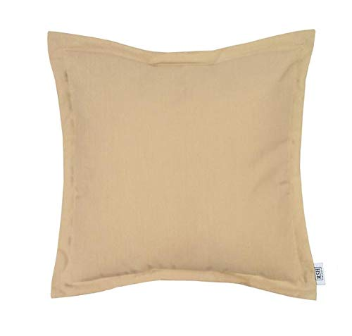 RSH Décor Indoor ~ Outdoor Decorative Flange Square Throw Pillow Made of Sunbrella Canvas Vellum ()